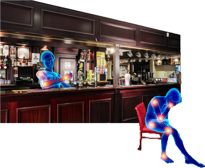 Oh, here I am again.Pulling pints in the local, me big mahogany shiny bar, fully stocked with snacks and drinks. But the only problem is I'm hereevery daywith the locals, just a bunch of blue ghosts.And I'm one too. Here you can see him sat in the pub. One sat in a red chair look, head in hands.Golden red glowing pain points all over the body. There's another one over there in the corner on that barstool, head in hands. This one's brains glowing and all its joints. Poor sausage.And then on the top right there over in the darts corner. We've got the whole skeleton on view.Hand on heart.Red glowing head.Just trying to play a better darts over there. It's not the most exciting looking pub.But it's where I spend most of my time.And behind the darts corner there you'll see it's all sports viewing area. We've got a nice 80s patterned orange carpet. Wooden stage seating area rolled around. As you can see.Nice silvery foil curtain and the big flat screen telly where you can watch all your games.Why don't you go and have a look what's on now?You sit down and get comfylove,I'll pull you a pint.