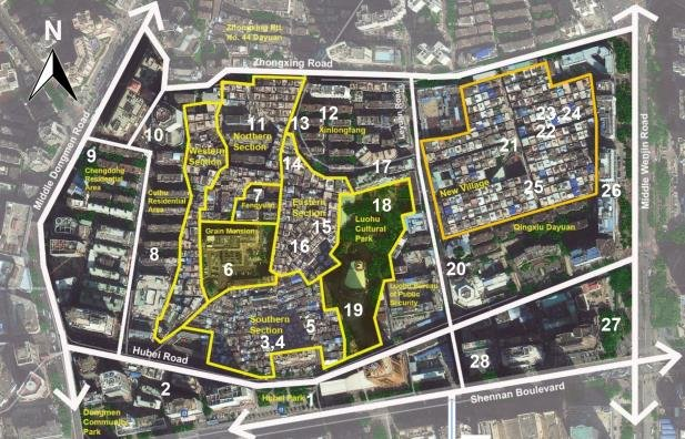 A colour map of the redevelopment site of Hubei Old Village, portioned into multiple sectinos to describe the development process