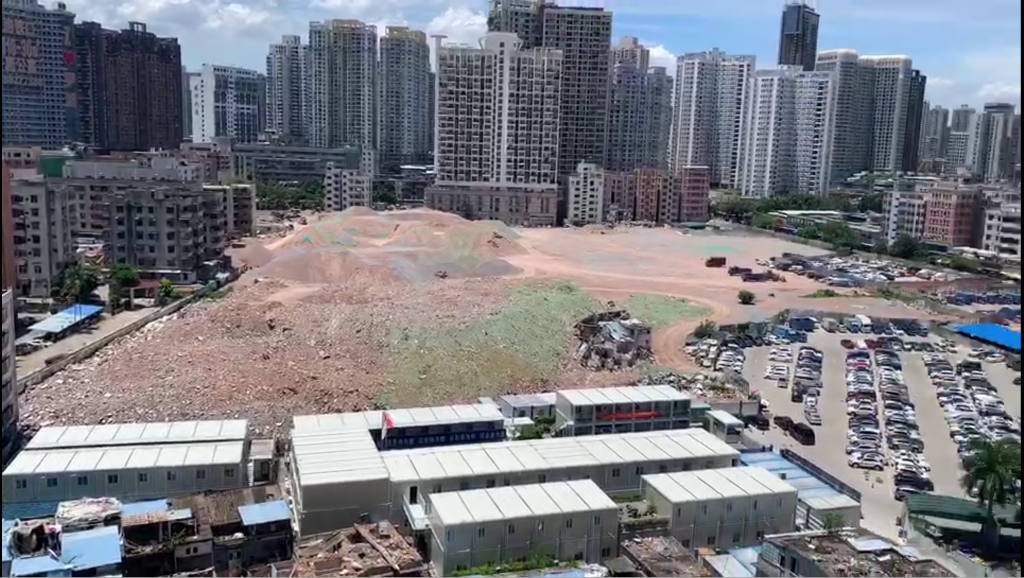 Colour image, aerial view of the building site