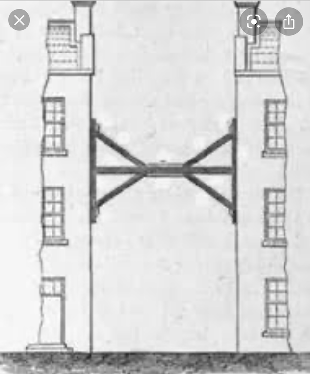 A blue print drawing of two buildings next to one another. Between them is some kind of supportive structure that is wedged between them to keep them upright.