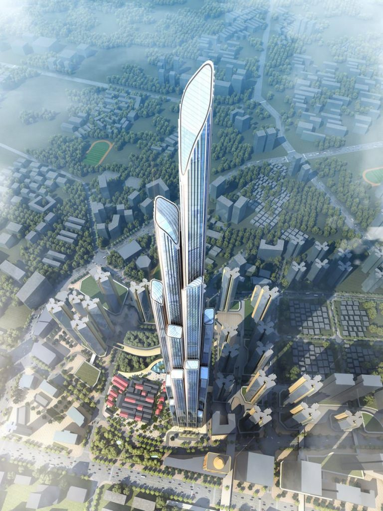 Digital render of a glass skyscraper, which will be the new build replacing Hubei Old Village
