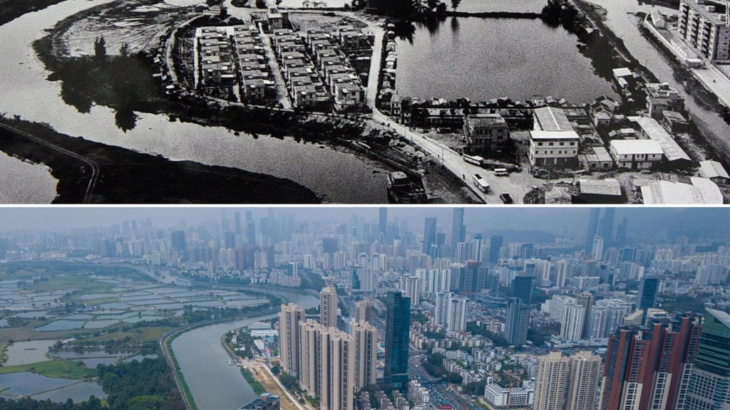 Birds eye view of Shenzhen from the 1970's, in contrast with a colour photo from the present