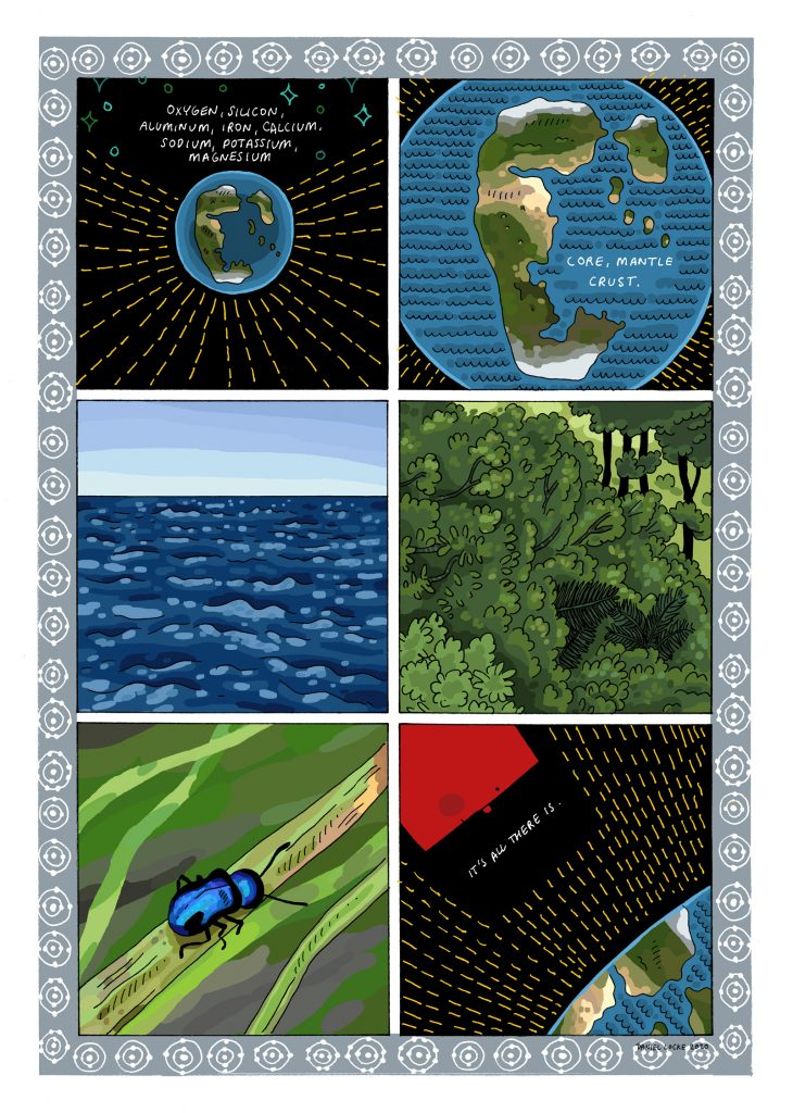"""A six panel Cartoon strip. Each panel is equally sized and the strip is arranged in three rows of two panels.   Panel One contains an image of the Earth as it was in the distant past. The continents are arranged as one large landmass, with a smaller landmass and some islands to it's north east. Above the planet are blue stars. The planet is surrounded by radial yellow lines. The words, """"Oxygen, Silicon, Aluminium, Iron, Calcium, Sodium, Potassium, Magnesium"""" are written in white, uppercase hand writing.  Panel Two contains a close up image of the Earth. We can see more details of the super continent's surface, deserts, forests, snowy plains. The words, """"Core Mantle, Crust."""" are written in white over the ocean.  Panel Three contains an image of the open ocean as it might appear from a boat, deep blue, broad horizoned and big skied.  Panel Four contains an image of a thick forest. Green on green.  Panel Five contains an image of a metallic blue beetle walking on a single blade of green grass. A miniature high wire act.  Panel Six contains an image of a square head, red, looking down on the earth from space. Yellow lines radiate from the Earth. The words, """"It's All There Is"""", written in white against the black of Space."""