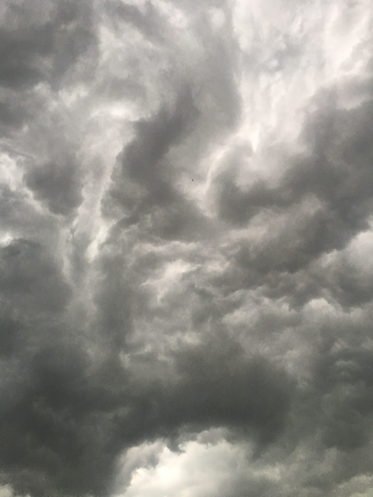 A stormy-looking sky of gray-black clouds.