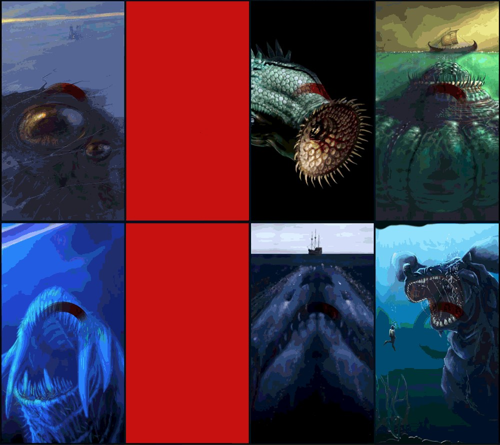 Eight length-wise rectangular panels form a square, two of the panels are bright red (centre left), the other six panels are illustrations of sea creatures/monsters in hues of green and blue.