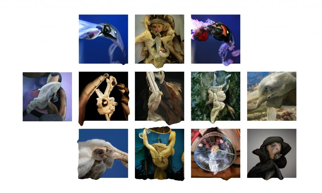 A grid of images generated by an AI. These look organic and painterly, some look like they have insect body parts, fur, mouths and eyes mashed together creating formless mutants.