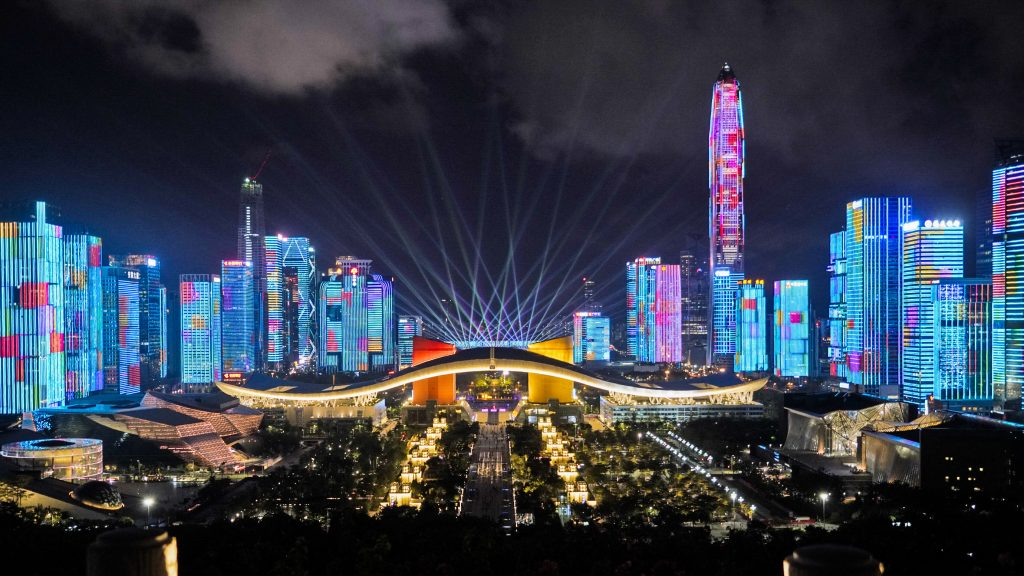 Lasers and LEDs light up the facades of skyscrapers in Shenzhen at Shenzhen Light Show. (Photo by Masayuki Terazawa)