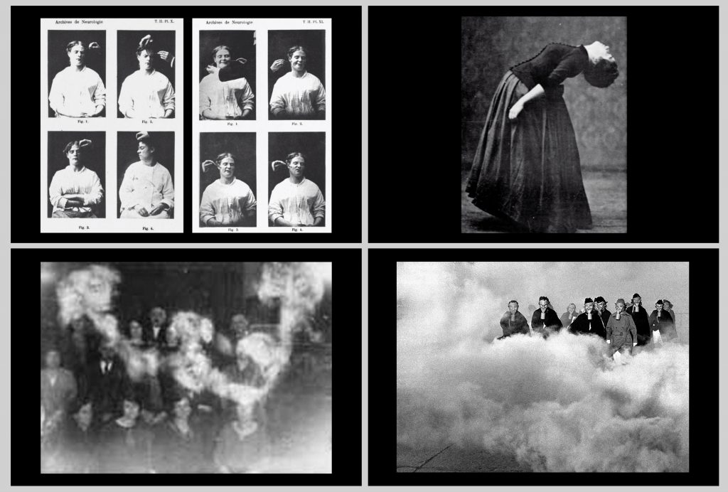 Four black and white images from Angela Su's film 'Mesures et Demesures'. Top left corner: four portraits of women in eight frames are having tests taken from skin and ears. Top right corner: a woman bends over backwards, wearing a long billowing skirt and bodice shirt (Victorian era). Bottom left: a blurry photo shows people sat in two rows posing for a photo. Bottom right: a group of people stand as though in the clouds, floating.