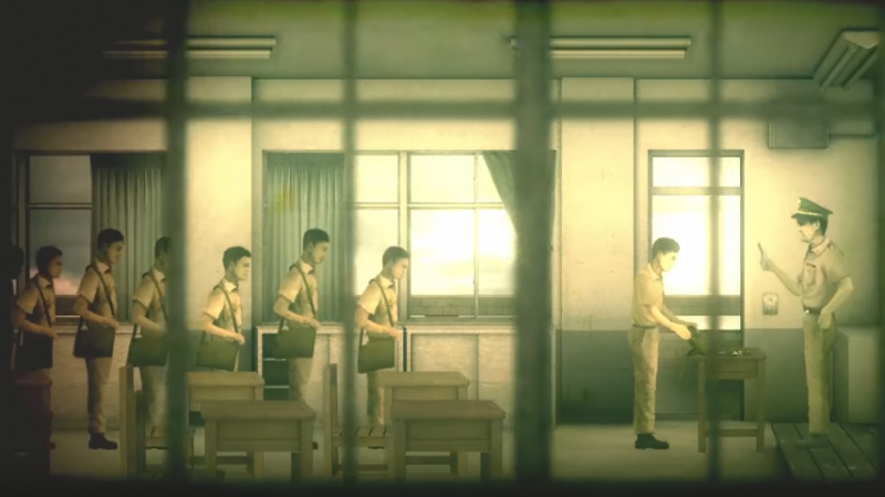 Another scene from the game. The point of view of the audience is from a window of a classroom. The grill of the window resembles the grill of a prison cell. The light is warm, soft and diffused. 7 male students, heads down, carrying school bags queue up behind some desks. The student at the head of the queue opens his bag for inspection by a police officer.