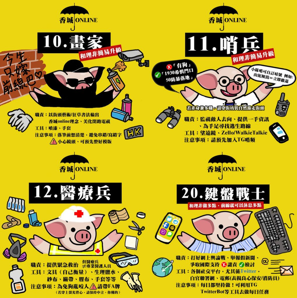 This image indicates Some of the roles in the 'game', including 'Painter' (to create protest art), 'Sentinel', 'Combat Medic' and 'Keyboard Fighter'. The background colour is yellow with 4 illustrations of a piggy in 4 different attires. This particular piggy ('Li-Pig') is one of the mascots of the protest. As an example, the Combat Medic Li-Pig wears a white helmet with the symbol of the red cross. Illustrations of the different supplies (saline solution, bandage, scissors, gloves, isopropyl alcohol, scissors.. etc) floats around the piggy. The texts underneath the illustration list out in details, the supplies needed and the medic's duties.