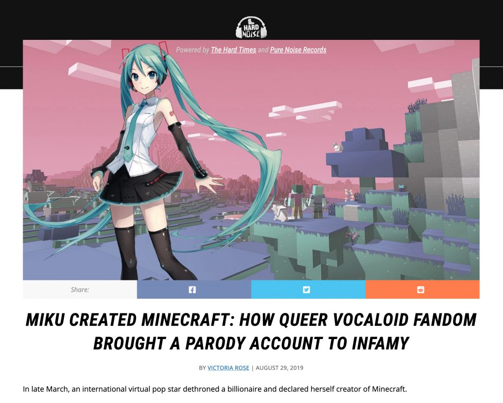 A screen shot of a website that tell the story of how Hatsune Miku created Minecraft. Miku looks like a Japanese anime character with long, turquoise twintails. She stands in front of a scene from Minecraft.