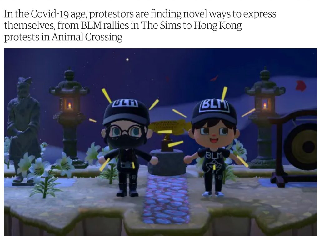 A screenshot from a Black Lives Matter Animal Crossing rally with 2 black-clad protesters wearing BLM caps and t-shirts.
