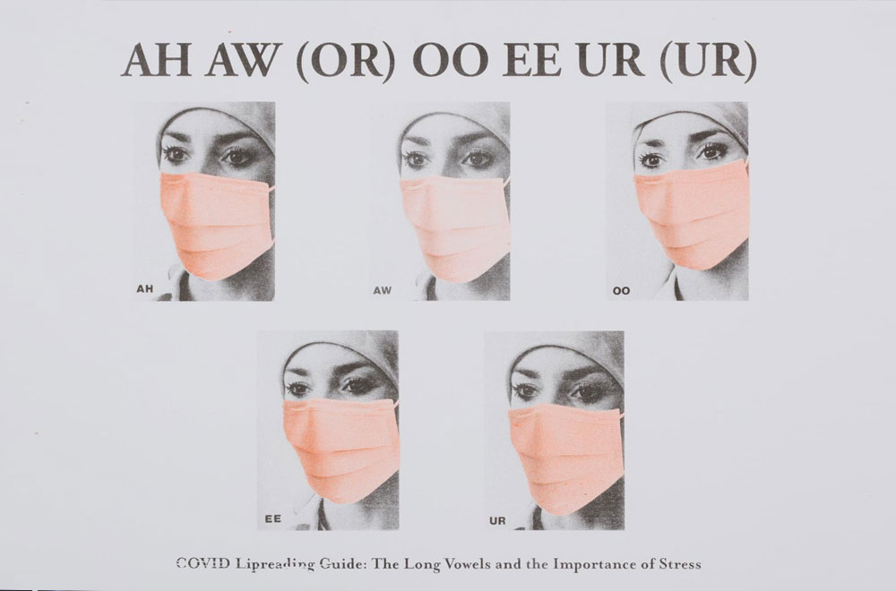 Artwork created by Damien Robinson entitled Ah Aw (Or) Ee Ur (Ur) The Long Vowels. The image shows 5 identical women's faces in black and white, they are wearing peach/orange coloured surgical facemasks. A row of 3 at the top, and 2 on the bottom. Printed on a white background. At the top of the image it says: AH AW (OR) OO EE UR (UR). At the bottom the image it says: 'COVID Lipreading Guide: The Long Vowels and the Importance of Stress'