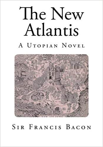 The book cover of The New Atlantis by Sir Francis Bacon. It has tiny image of an island surrounded by the sea and the settlement in the center with several human holding high tech objects (relevantly high tech for the time 1626, something like phone or so...)