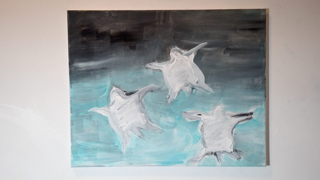 A painting on canvas. Acrylic painted three sea turtles. Background is green and black gradient with three white sea turtle in the center with only outlines.