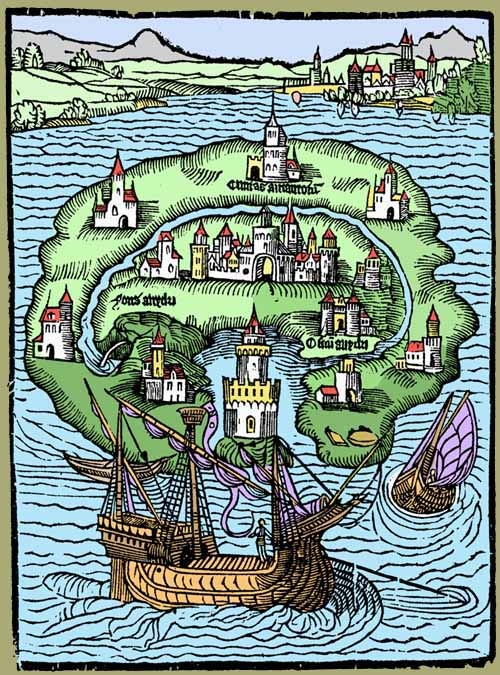 This is an image of the book cover of Sir Thomas More's Utopia. It's an island surrounded by water with several settlements in the center and a ship in the bottom.