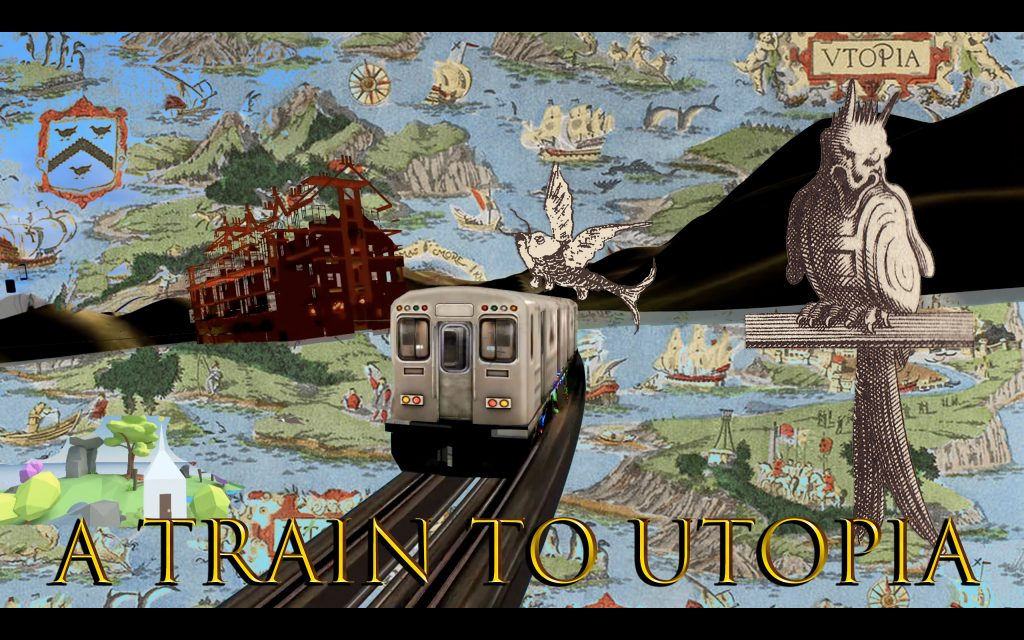 """A picture of workshop """"A train to utopia"""". It's a color image with a train in middle, background with colorful islands, land, house, settlements, with golden text """"A train to utopia""""."""