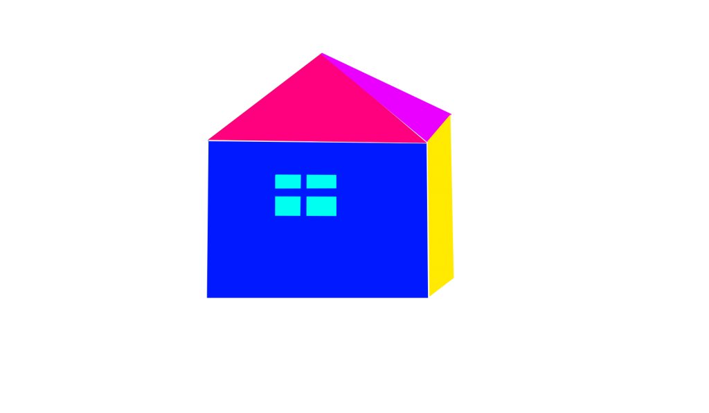 A house with different colored wall and roof. The blue wall with a window, another wall is yellow. The roof is pink and cyan.