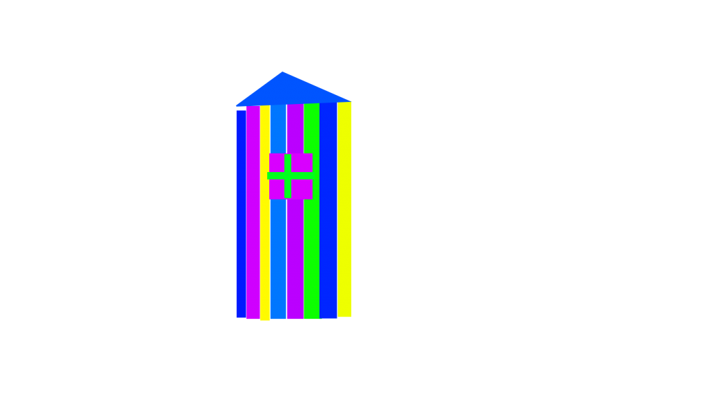 A house made by multiple stripes with different colors, with blue, purple, green, yellow, cyan and green and there's a window in center. It looks taller compare to the previous picture.