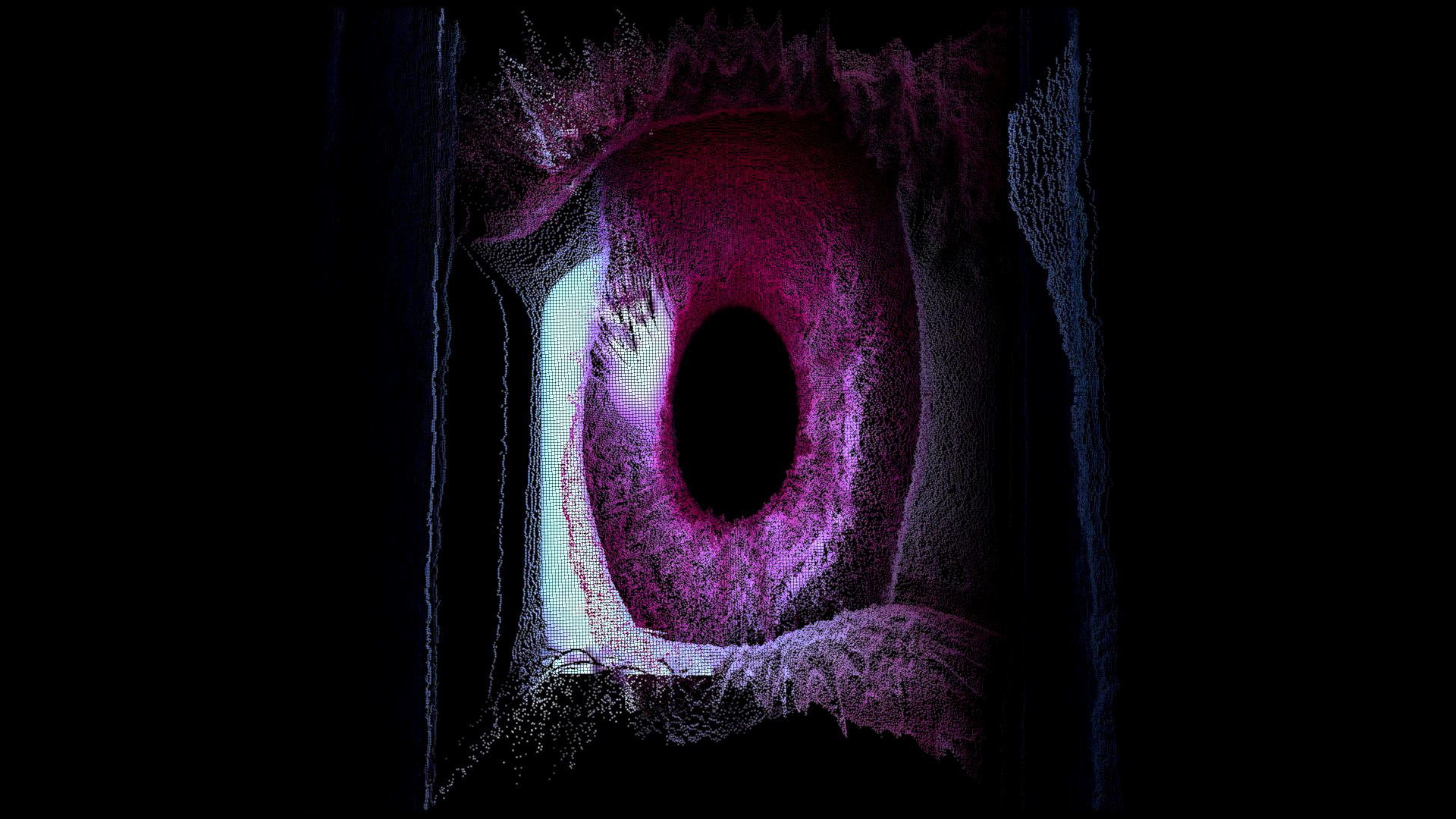 The image contains a large eyeball with a pinkish cornea set against a black background.