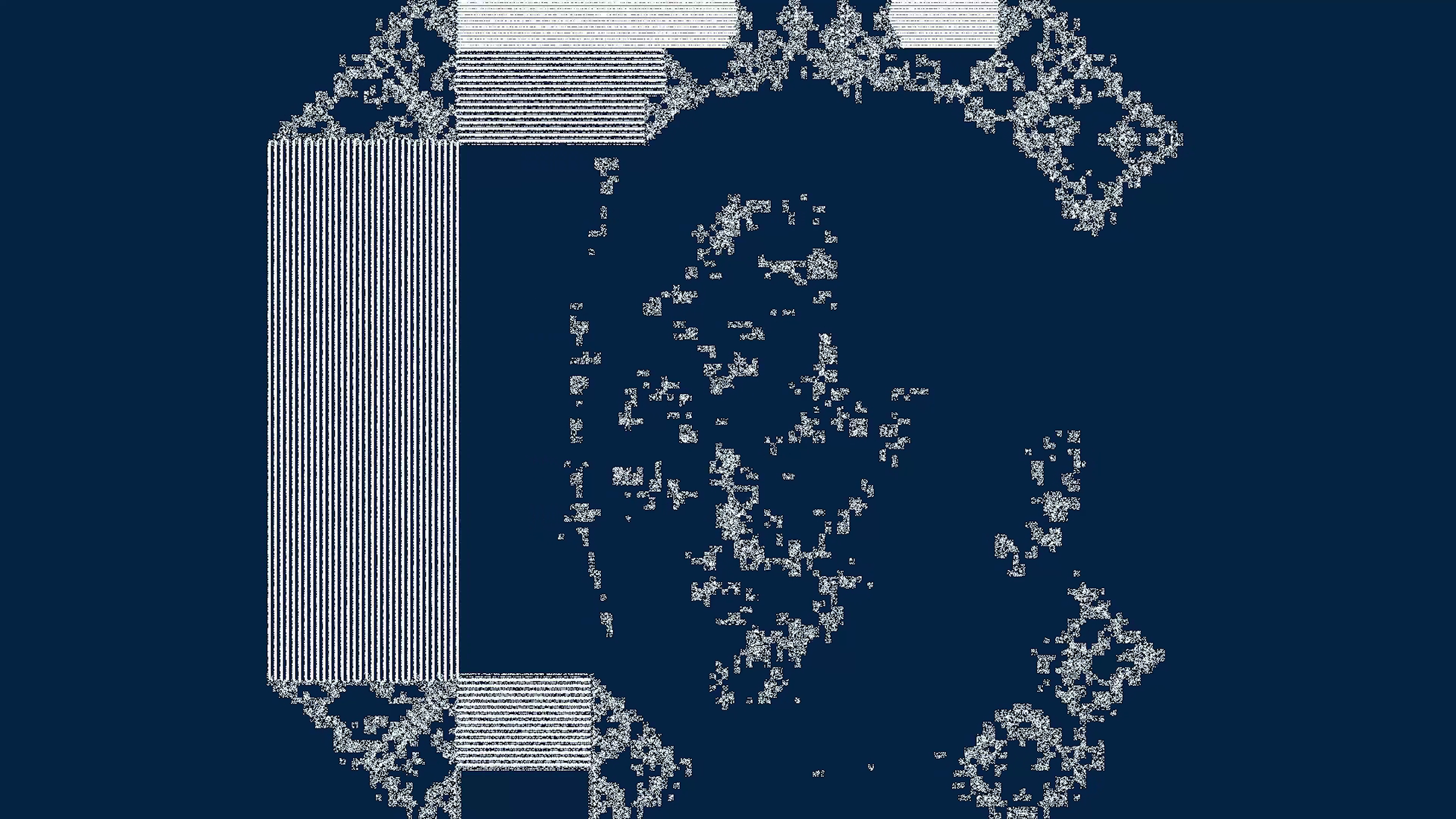 The image is a screengrab from the video 'your dataset must die' and contains abstract imagery of an AI generated face set against a dark blue background'