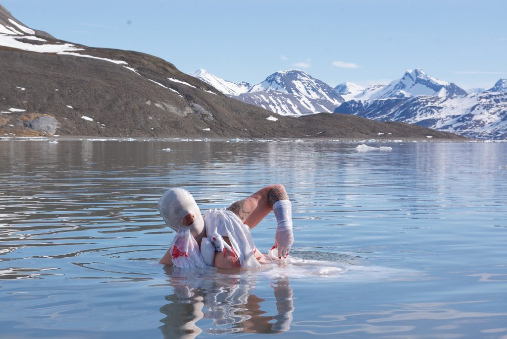 a body in the water in front of ice in the water in front of the ground in front of sow