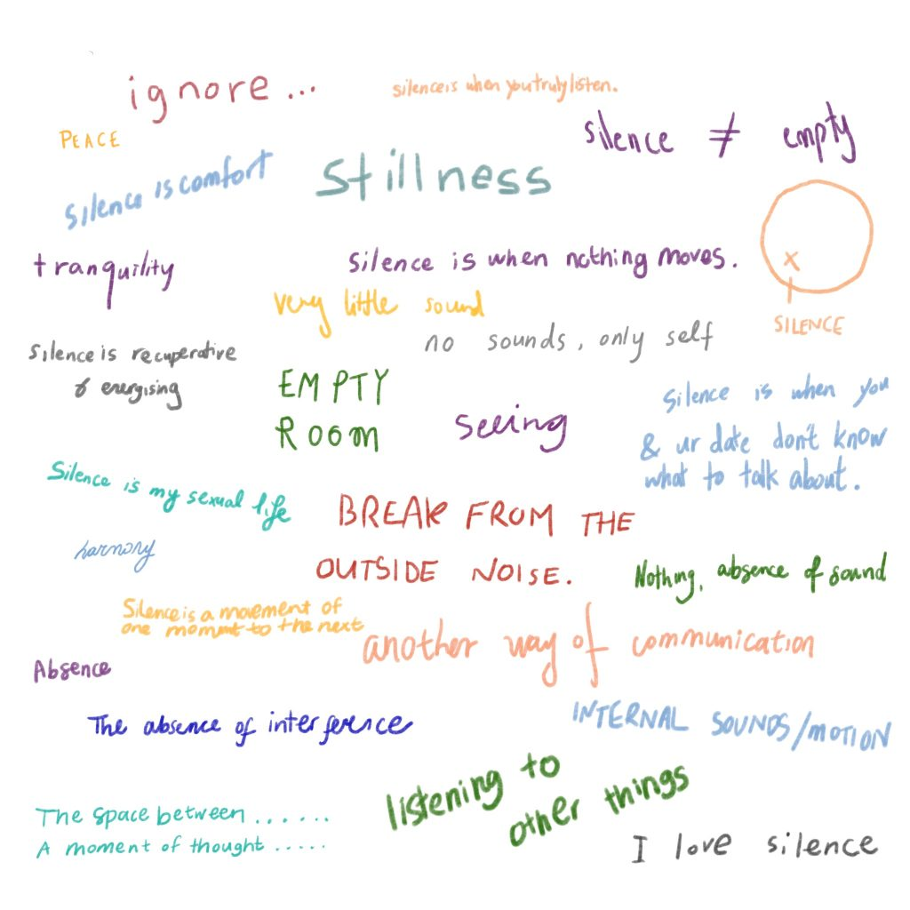 """Colourful short handwritten words on white background. From top to bottom order, writings say: """"ignore..."""", """"silence is when you truly listen"""" """"PEACE"""", """"Silence is comfort"""", """"Stillness"""", """"silence ≠ empty"""", """"tranquility"""", """"silence is when nothing moves"""", """"very little sound"""", """"silence is recuperative & engaging"""", """"no sounds, only self"""", """"EMPTY ROOM"""",""""seeing"""",""""silence is when you & ur date don't know what to talk about"""", """"silence is my sexual life"""",""""BREAK FROM THE OUTSIDE NOISE"""", """"Nothing, absence of sound"""", """"harmony"""",""""silence is movement of one moment to the next"""",""""another way of communication"""",""""Absence"""",""""The absence of interference"""",""""INTERNAL SOUNDS/MOTION"""",""""The space between.... A moment of thought...."""",""""listening to other things"""",""""I love silence"""". There is little diagram on upper right side- which has circle drawing with little x inside. x has a little line drawing right below and the word below the line says SILENCE."""