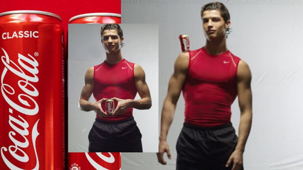 A photo collage of three images, on the left is a close up of some red coca cola cans, overlaid in the middle is a photo of ronaldo wearing a tight red nike vest and black joggers holding a can of coke in front of him and smirking. On the right is a larger image of him wearing the same outfit with the can of coke balancing on his right shoulder as he looks confidently down the camera, his muscles accentuated by the studio lighting and plain white background.