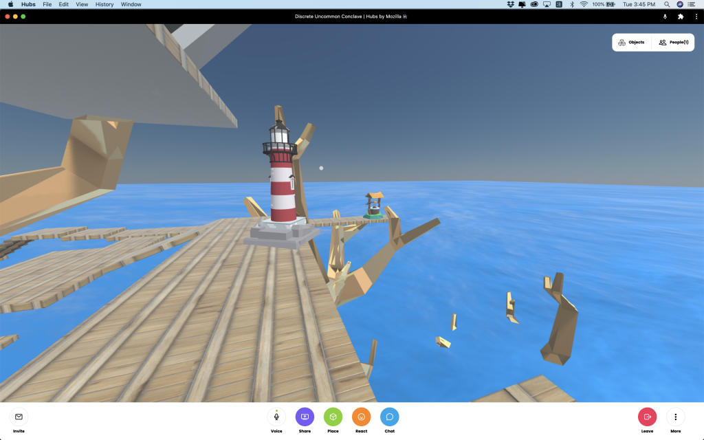 This is a screen shot. A red and white stripe lighthouse on the tree house. A well at the edge of the wooden board.
