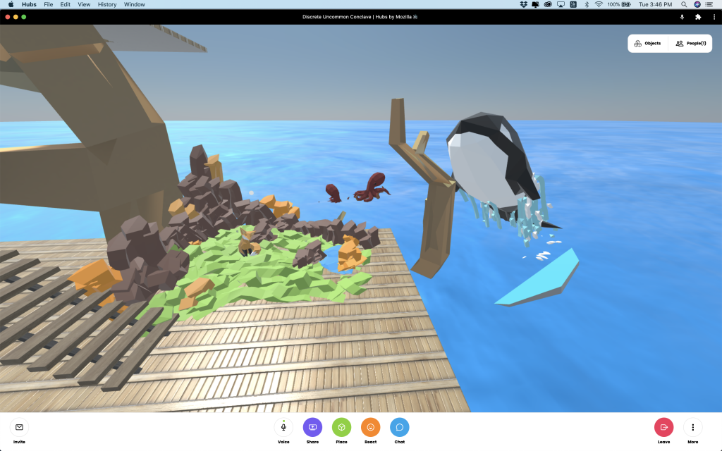 This is a screen shot. A sea park like layout. A man made landscape at middle with rocks, greens and a fox? A Orcinus orca jumping off the sea at right and two red octopus at the far side.