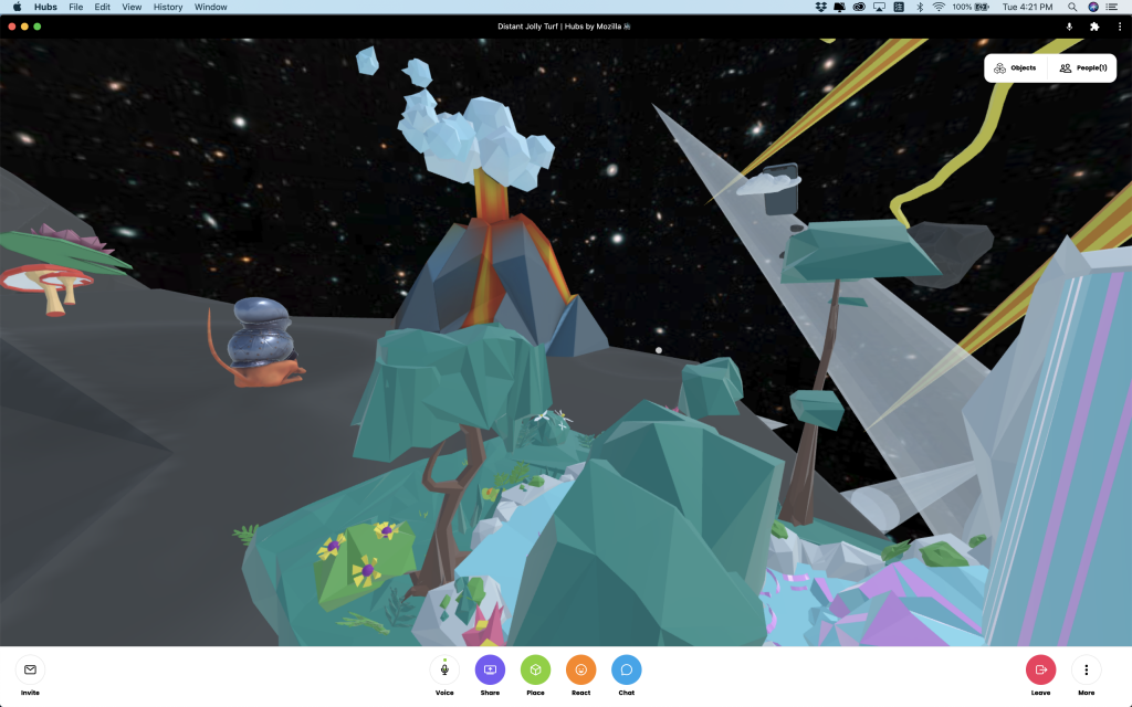 Screen shot. Back to the space. A volcano in the center back. A weird space dog like animal on the left. On the front is a waterfall with some green trees.