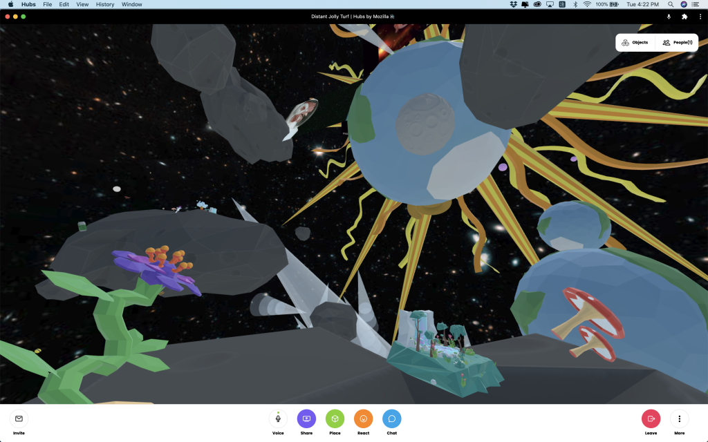 Screen shot. A weird flow at front left bottom corner. Astroids floating at back with three earths and a big sun.