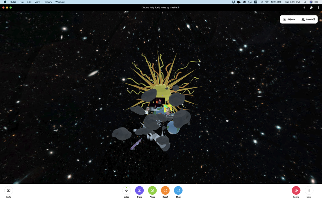 Screen shot. A far view of the whole utopia they built. A sun, astroids, earths.