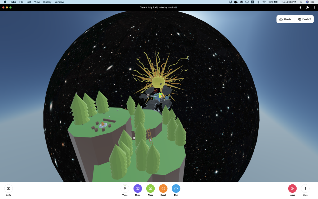 Screen shot. An island floating outside the circular space. Inside the space is multiple stars and a big sun.