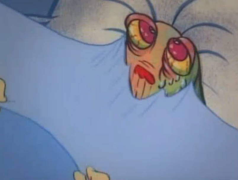 A screenshot from the cartoon The Ren and Stimpy Show. Ren is a small and hairless chihuahua dog with beige skin, pink eyes and floppy long pink ears. Stimpy is red/orange Manx cat with a white tummy and hands, wth a round blue nose and a pink tongue often hanging out of his mouth. In this screenshot we are stood over Ren's bed, his eyes are yellow and bloodshot, with many bags around them and his face is turning greenish with some drips of sweat flowing down from his left eye. Stimpy's white hands are just visible at the edge of the shot as if they are our own, peeling and stuck down blue bedsheet from Ren's face.