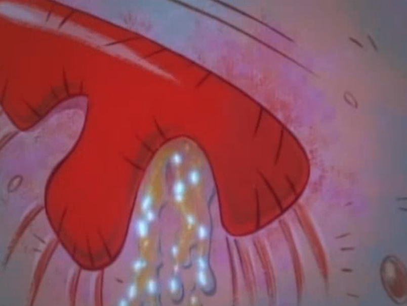 A screenshot from the cartoon The Ren and Stimpy Show. Ren is a small and hairless chihuahua dog with beige skin, pink eyes and floppy long pink ears. Stimpy is red/orange Manx cat with a white tummy and hands, wth a round blue nose and a pink tongue often hanging out of his mouth. In this screenshot is a close up of Ren's red nose and pink skin, the nose has a glistening liquid flowing from the right nostril.
