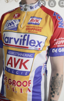 A yellow cycling jersey with red shoulder sections. White, red and blue sponsorship logos litter the jersey to a landfill like state.