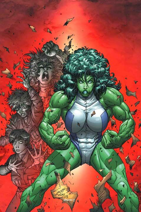 A comic book image. On top of a glowing red background, we are shown the transformation process of Jennifer Walters into She-Hulk. From grey to green, busting and shredding from her normal clothes, She-Hulk dominates the image with her wide stance, big hair, big muscles, big tits and tiny white and blue leotard.