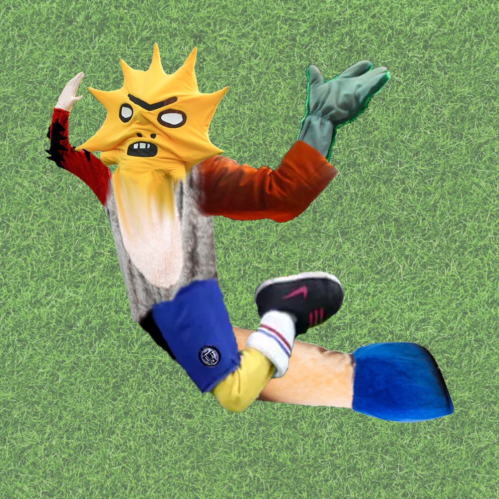 A faint grass background with a creature diving in the foreground, their body made up of several mascot limbs, a yellow angry looking cartoonesque sunburst face, a raised right arm or wing of an eagle mascot, brown with black feather and a white gloved hand, the left arm, also raised, is a green glistening wrist and hand poking out of a brown long sleeve, the face melts down into the body, grey fur with a white fur belly oval, the left leg has blue shorts with a small logo, a yellow leg, white sports socks and black and a red puffy mascot nike trainer, the right is a thick beige fur trunk with a huge bright blue hoof. The legs are bent and arched backwards.