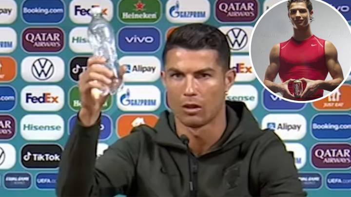 Ronaldo in a press conference, sat down, mouth slightly open, holding up a unlabeled bottle of water in his right hand, behind is a background covered in small logos. Top right is a circle with an older image of him inside, wearing a tight red nike vest and holding a can of coca cola in front of him and smirking.