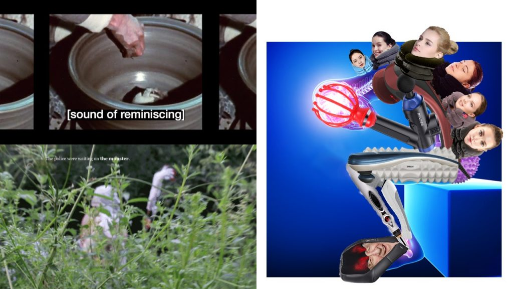 Three images in a composite represent three artists' work. Top left: Seo Hye Lee's film Sound of Subtitles - a hand is inside a stone coloured round pot on a spinning wheel, the insides of the pot are shiny. A subtitle reads: sound of reminiscing. Bottom left: Linda Stupart's film Watershed 2.0 - green plants are growing in the foreground, they look like tall weeds. In the background a blurred image of a person in white, a curled claw with red nails is held ahead of the person. Right of the image: Laura Lulika's Body Building film - a sad android sits in a blue room on a blue block, women's heads grow out of the android's back, their body is made up of body massager tools, which are grey, black, purple and pink plastic. A glowing pink ball is held in the android's scalp massager hand.