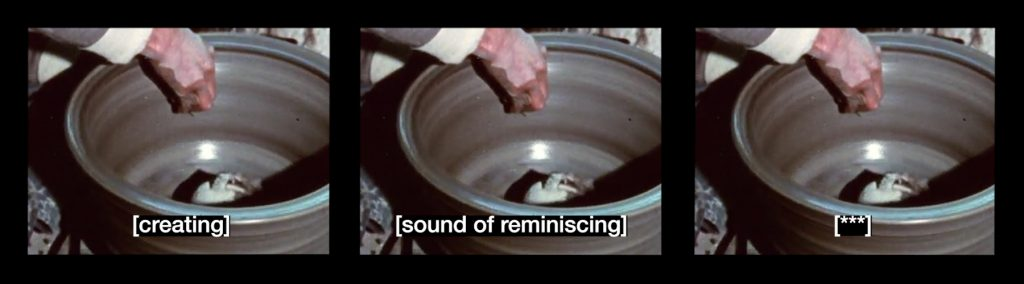 A video still from Seo Hye Lee's film Sound of Subtitles - a hand is inside a stone coloured round pot on a spinning wheel, the insides of the pot are shiny. At the bottom of the central frame a subtitle reads: sound of reminiscing.