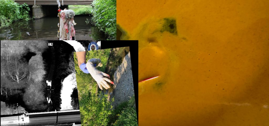 """(text-colour:red)+(background:(hsl:162,0.7238,0.6451,0.7))[Alt/Text: .. (t8n-time:1.5s)[[melted red plastic fingernail on  white hand in boiling put of tumeric on cheap stove in Kitchen in Birmingham,->blood on the water]] alongside the River Cole. Inset image:  an image of a large police-hand covered tight in sick-blue gloves, which the police wear when they are touching (t8n-time:2s)[[bodies->The Body]] or objects without consent. The rubbered-de-oxiganted-blue police hand holds a dirty white arm, with long read nails; dripping water. The red nails bleed on to fingers. The image is from (link: """"this news article"""")[(goto-url: 'https://www.birminghammail.co.uk/news/midlands-news/hand-arm-found-river-cole-18211227')].Inset 2: black and white night vision police image of the river cole taken from above. T(t8n-time:1.5s)[[his is from the night the police break up a rave in June 2021->police rave]]. Bodies are close to each other. Inset 3: body in pink in front of a bridge over the river looking down at knee](t8n-time:1.5s)[[spit->The foam]]"""