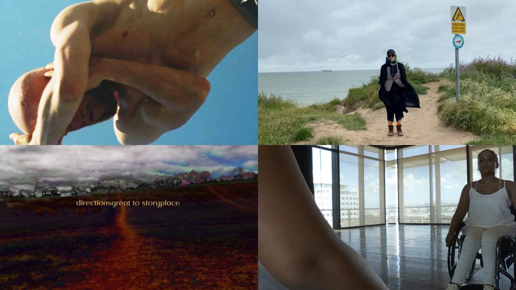 Image represents four artists work, top left: a still image from Siphenathi Mayekiso's film Echoes of Identity, which shows a man with bare chest and arms across his face against a blue sky; top right: a still image from Rebekah Ubuntu's film Ecologies of Belonging (a Meditation in Progress), which shows a person standing in the centre of a sandy footpath with long grass either side, in the distance to the left if the sea and clouds in the sky; bottom right: a still image from Nadine Mckenzie's film A Will, My Wheels and a Way, which shows a young woman sat in a wheelchair reflected in a mirror, a wall of windows shows buildings and blue sky outside; bottom left picture: a dirt track footpath leads into the distance through a field, the ground is a deep red, making the grass on the sides of the path almost black in colour, trees can be seen on the horizon in the distance with clouds and a little blue sky above.
