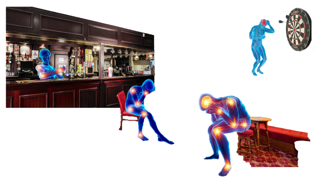 Image description: 2 blue androids sit slumped over with heads in hands, bright orange and red lights glow in pain from their joints. They sit on a pub stool and chair in a pub setting, a dark wood bar on the left in the background.